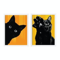 iwallyou Poster Set Black Cat With Orange Background