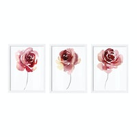 iwallyou Poster Set Red Roses Water Color
