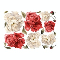iwallyou Wall Sticker Big Red Peonies