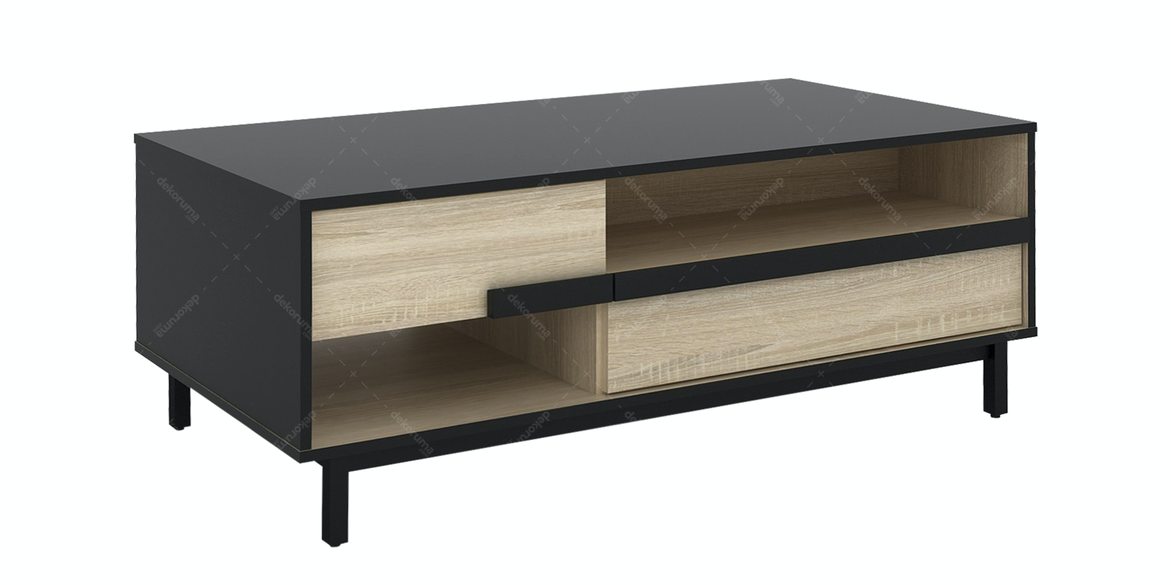 JYSK Coffee Table Bakke 120X60X44Cm Black Sonoma Oak