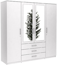 JYSK WARDROBE 4 DOORS VINDERUP WITH KEY 200X58X200CM WHITE