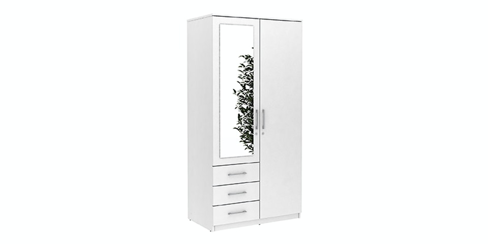 JYSK Wardrobe 2 Doors Vinderup With Key 100X58X200CM White