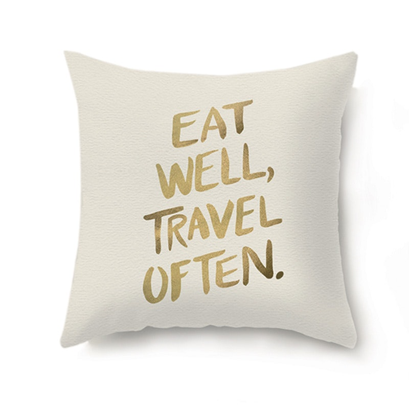 JYSK Cushion Cover Eat Well Fleece 45X45 Cm - Sarung Bantal