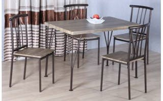 JYSK Meja Makan Set - Dining Set Folketing 110X70X75Cm Steel Brown