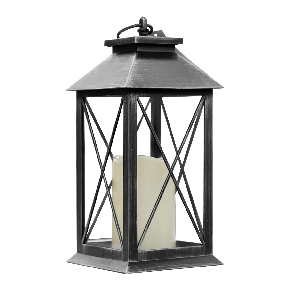 JYSK Plastic Lantern With Led Candle Black