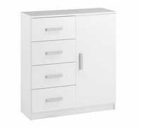 JYSK Chest 4 Drawers 1 Door - Lemari Laci Kabdrup 79X35X88Cm White