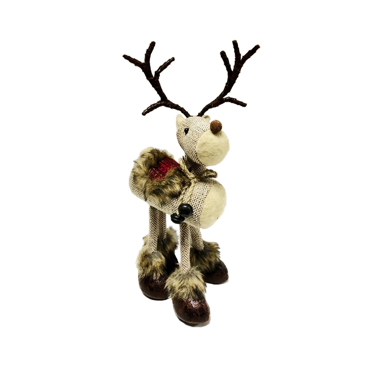 JYSK Hiasan Natal Standing Deer With Saddle 18X10X36Cm Brown