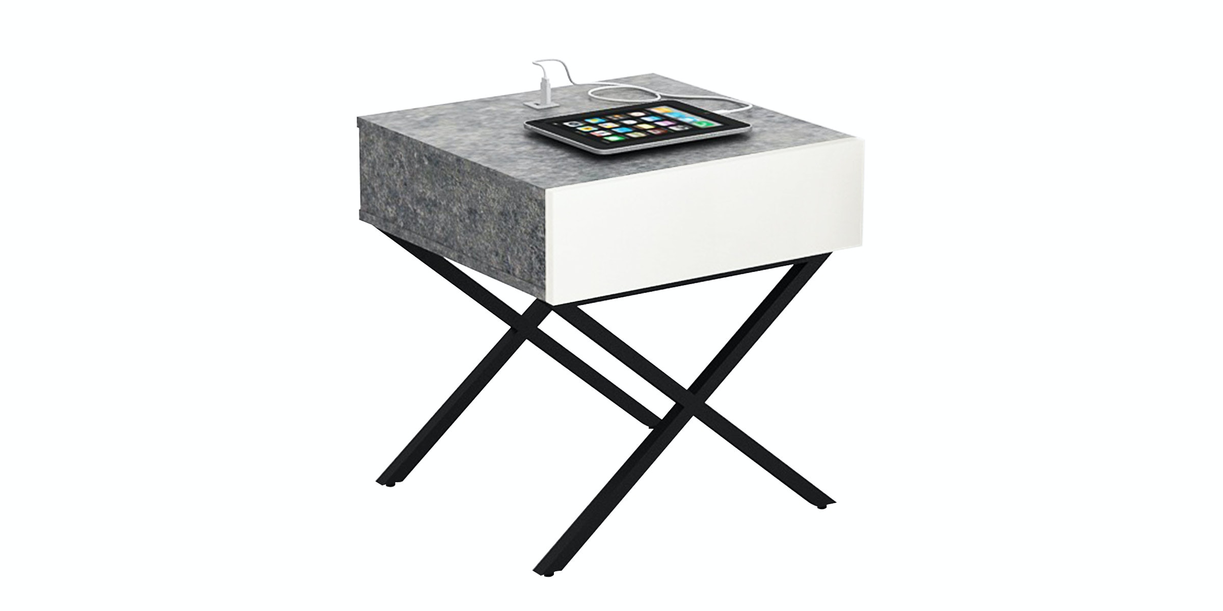 JYSK Bed Side Table Xannon 47X47X51Cm Concrete White
