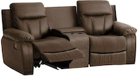 JYSK Recliner Zeus 2 Seater Rocking With Console Brown