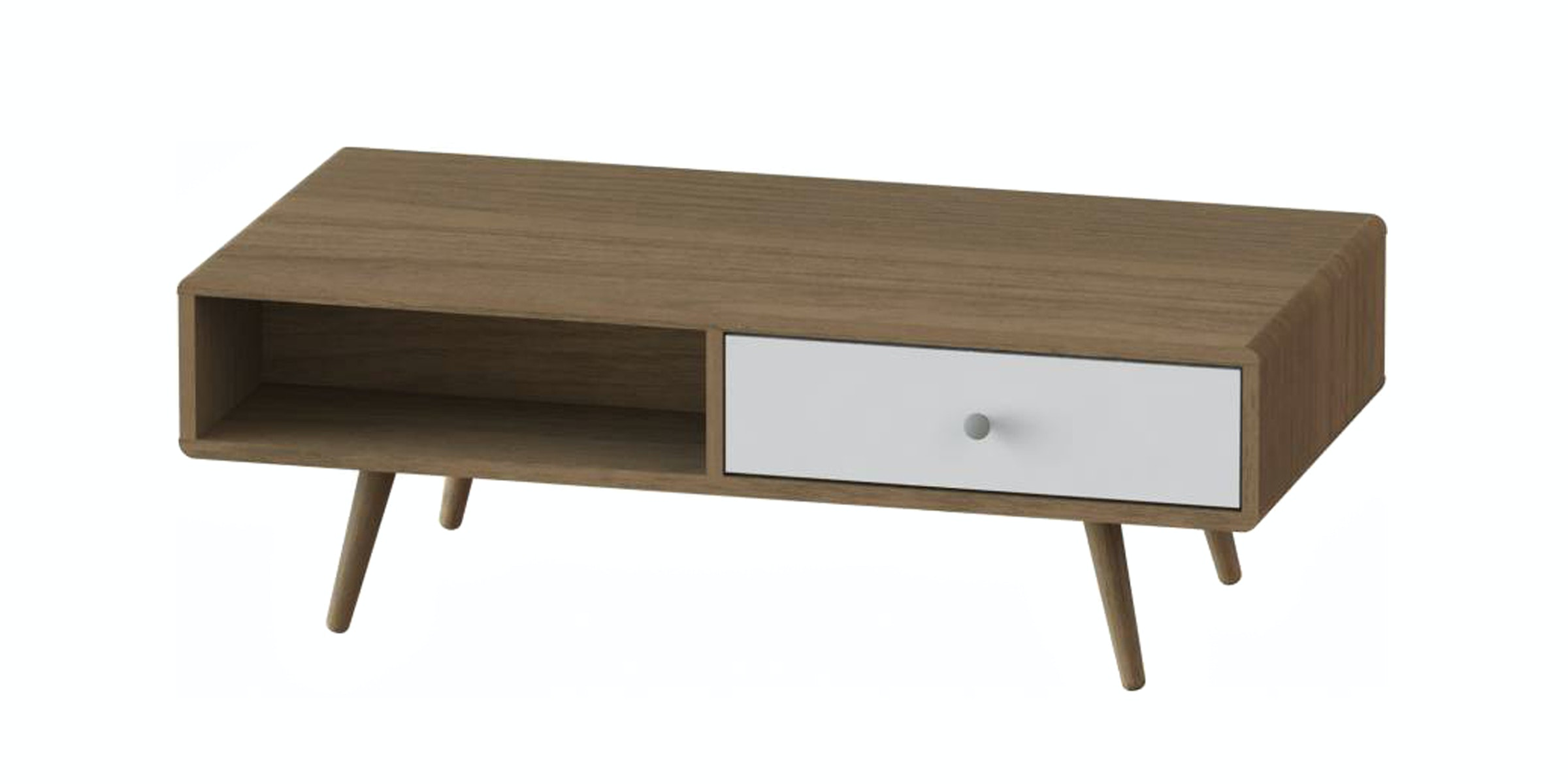 JYSK Coffee Table Benedikte 120Cm 1 Drawer Walnut/White