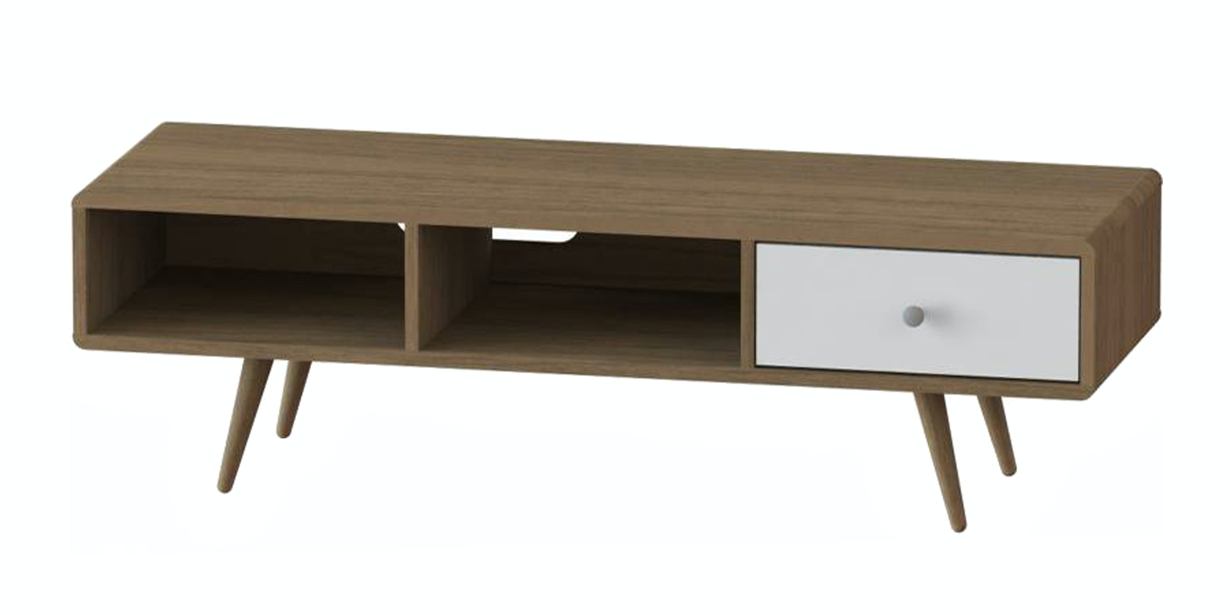 JYSK Tv Bench Benedikte 140Cm 1 Drawer Walnut/White