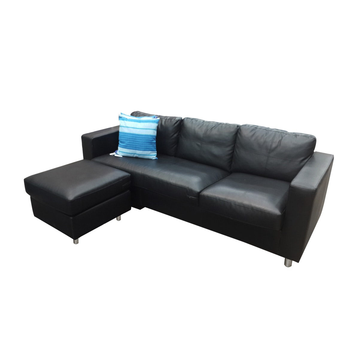 JYSK Nordic Sofa Black 3-Seater Chusion For Puff