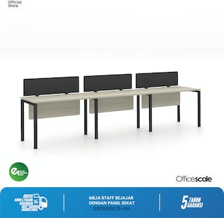 Officescale Configuration WS 3 Seater ( Main Desk 1 + Extention Desk 2) 3600x600x750mm