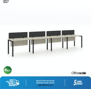 Officescale Configuration WS 4 Seater ( Main Desk 1 + Extention Desk 3) 4800x600x750mm