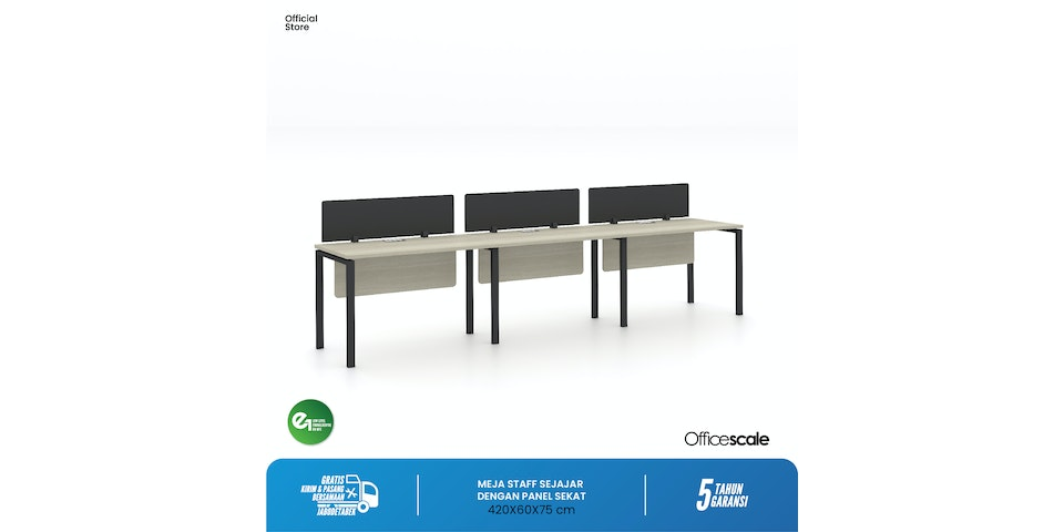 Officescale Configuration WS 3 Seater ( Main Desk 1 + Extention Desk 2) 4200x600x750mm