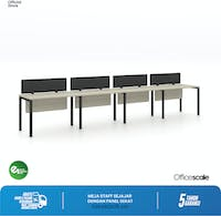 Officescale Configuration WS 4 Seater ( Main Desk 1 + Extention Desk 3) 5600x600x750mm
