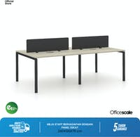 Officescale Configuration WS 4 Seater ( Main Desk 1 + Extention Desk 1) 2400x600x750mm