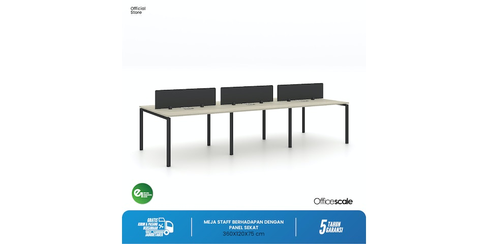 Officescale Configuration WS 6 Seater ( Main Desk 1 + Extention Desk 2) 3600x600x750mm