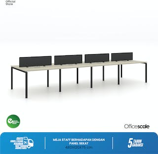 Officescale Configuration WS 8 Seater ( Main Desk 1 + Extention Desk 2) 4800x600x750mm