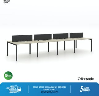 Officescale Configuration WS 8 Seater ( Main Desk 1 + Extention Desk 3) 5600x600x750mm