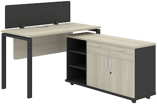 Officescale Configuration WS 1 Seater ( Main Desk 1 + Meja Samping ) 1200x1600x750mm