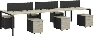 Officescale Configuration WS 6 Seater ( Main Desk 1 + Drawer 3 Susun ) 3600x1200x750mm