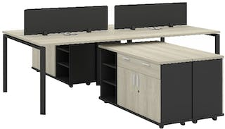 Officescale Configuration WS 4 Seater ( Main Desk 1 + Meja Samping) 2400x3600x750mm