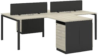 Officescale Configuration WS 4 Seater ( Main Desk 1 + Meja Samping) 2400x2800x750mm