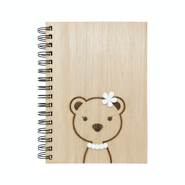 Kite Design Bear Girl Notebook