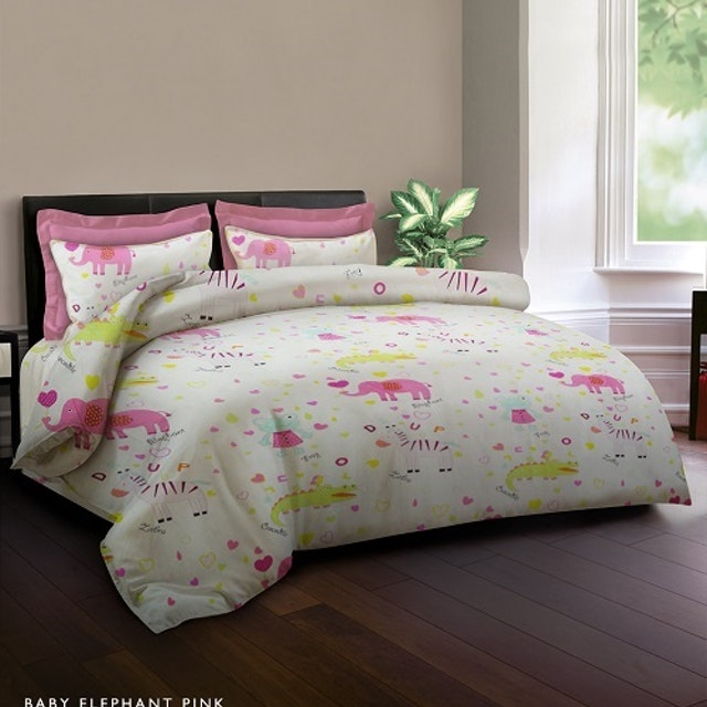 King Rabbit Set Sprei Baby Elephant Pink 200x200x40cm
