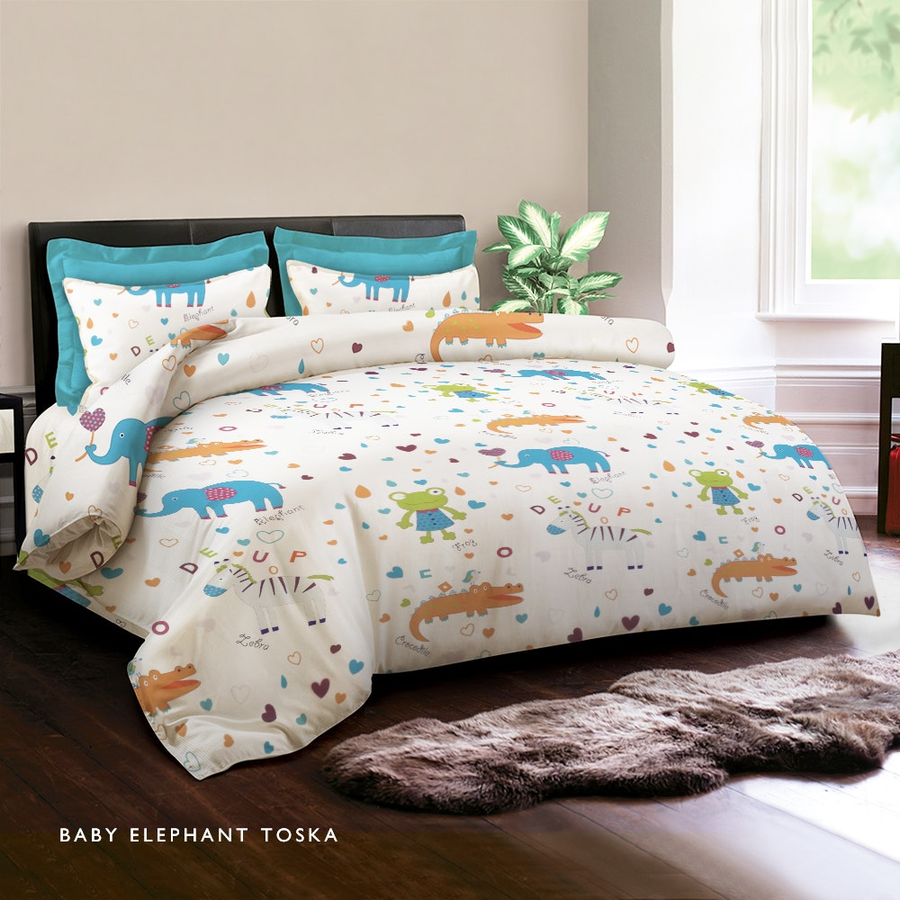 King Rabbit Baby Elephant Toska Bed Cover Single 140X230Cm