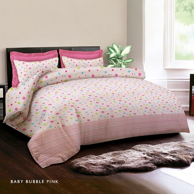 King Rabbit Set Sprei Baby Bubble Pink 180x200x40cm