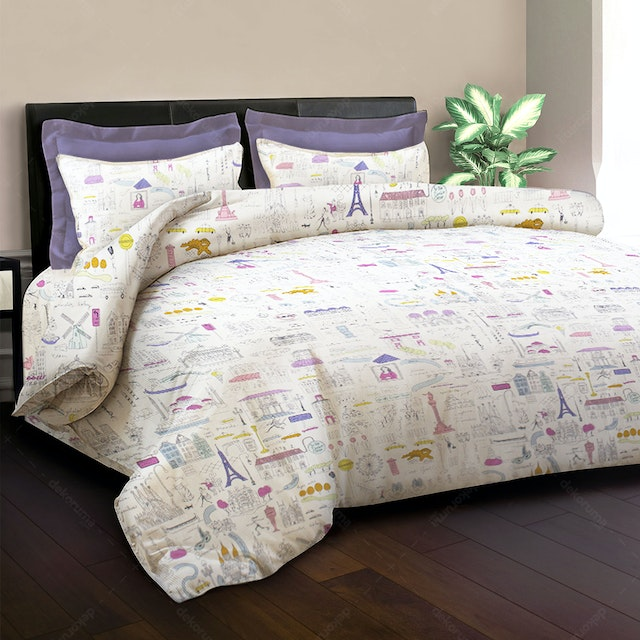 King Rabbit Set Sprei Holiday Ungu 160x200x40cm
