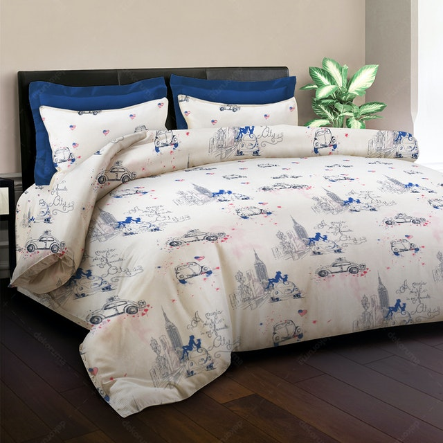 King Rabbit Bed Cover New York Biru 230x230cm