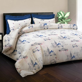 King Rabbit Bed Cover New York Biru 140x230cm