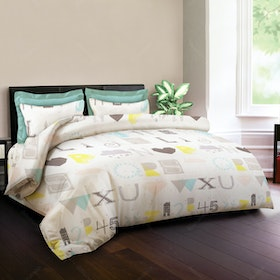 King Rabbit Set Bed Cover & Sprei Sarung Bantal King Motif A2Z - Biru Uk 180x200x40 cm