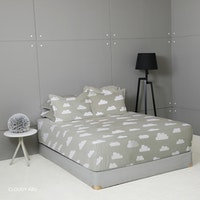 King Rabbit Set Sprei Sarung Bantal King Motif Cloudy -Abu Uk 180x200x40 cm