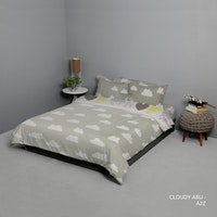 King Rabbit Set Bed Cover & Sprei Sarung Bantal King Motif Cloudy -Abu Uk 180x200x40 cm