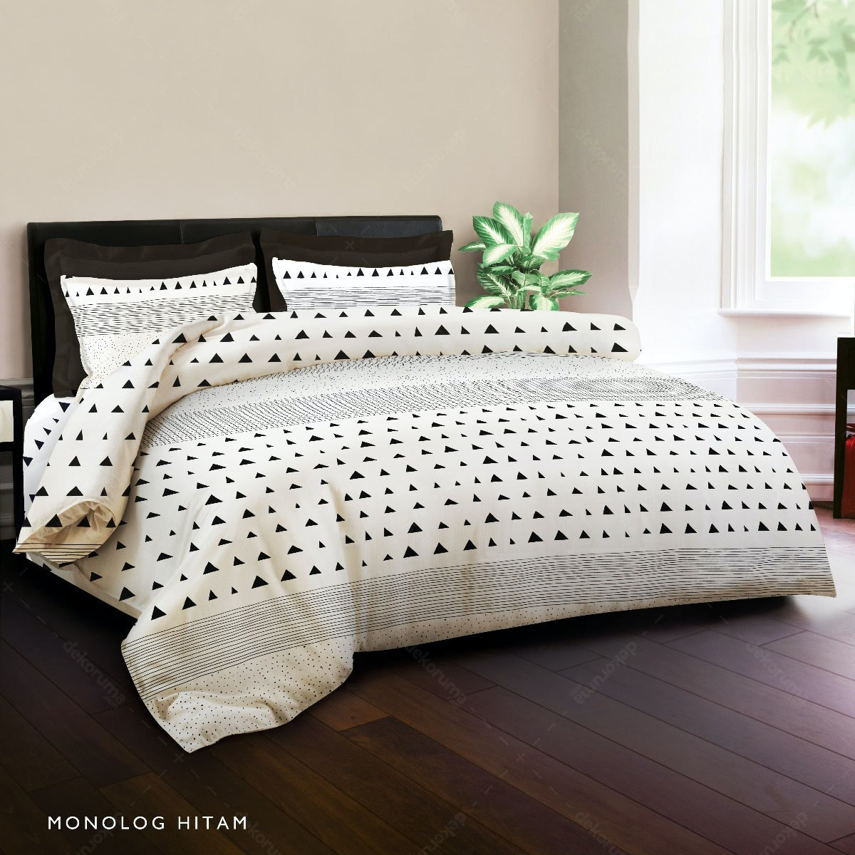 King Rabbit Set Bed Cover & Sprei Sarung Bantal Single Motif Monolog - Hitam Uk 100x200x40 cm