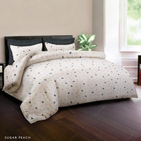 King Rabbit Set Sprei Sarung Bantal Single Motif Sugar - Peach Uk 100x200x40 cm