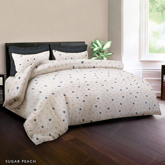 King Rabbit Set Sprei Sarung Bantal Queen Motif Sugar - Peach Uk 160x200x40 cm