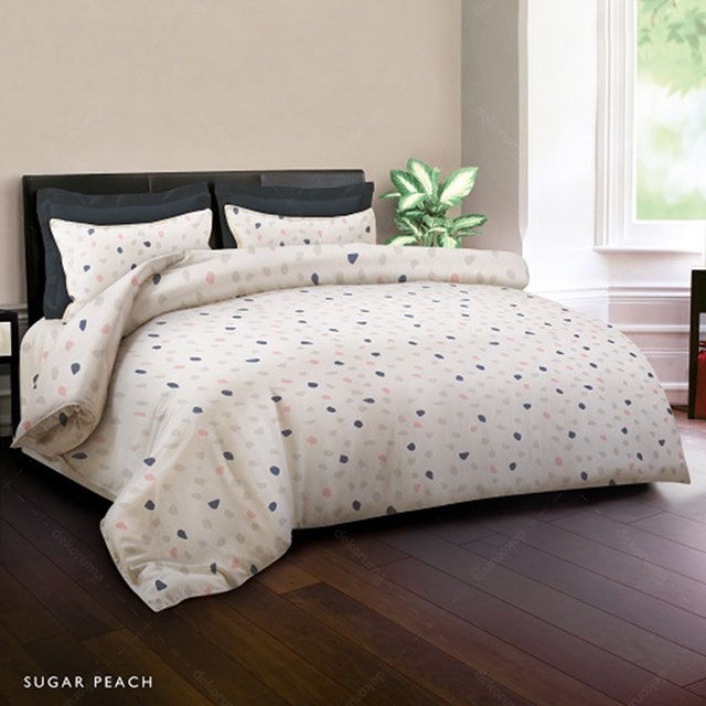 King Rabbit Set Sprei Sarung Bantal King Motif Sugar - Peach Uk 180x200x40 cm