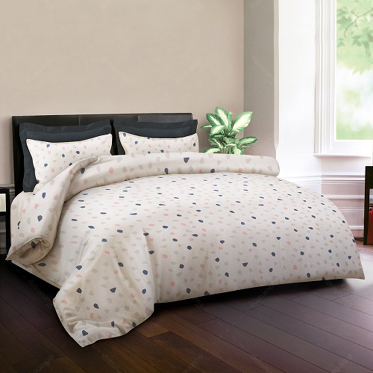 King Rabbit Set Bed Cover & Sprei Sarung Bantal Queen Motif Sugar - Peach Uk 160x200x40 cm