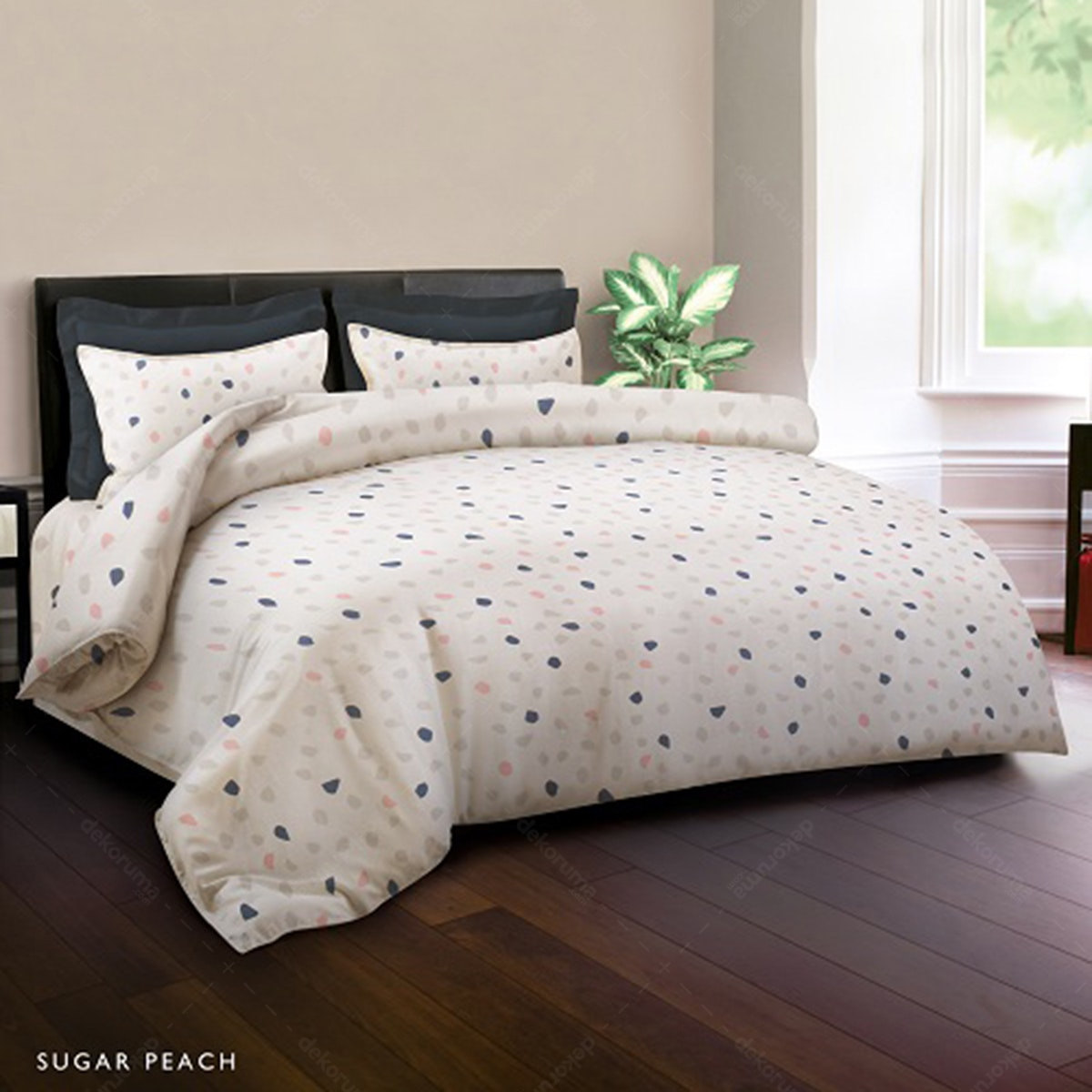 King Rabbit Set Bed Cover & Sprei Sarung Bantal King Motif Sugar - Peach Uk 180x200x40 cm