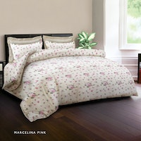 King Rabbit Set Bed Cover & Sprei Sarung Bantal Queen Motif Marcelina - Pink Uk 160x200x40 cm