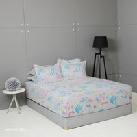 King Rabbit 7STAR Set Sprei Sarung Bantal Queen Motif Artesio - Biru Uk 160x200x40cm