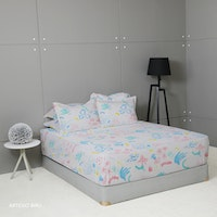 King Rabbit 7STAR Set Sprei Sarung Bantal King Motif Artesio - Biru Uk 180x200x40cm