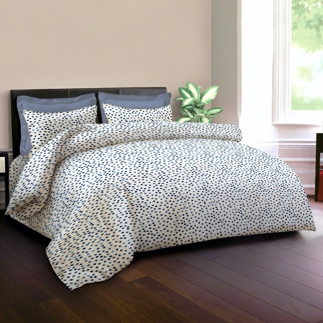 King Rabbit Set Sprei Sarung Bantal Queen Motif Autograph Sign - Biru Uk 160x200x40 cm