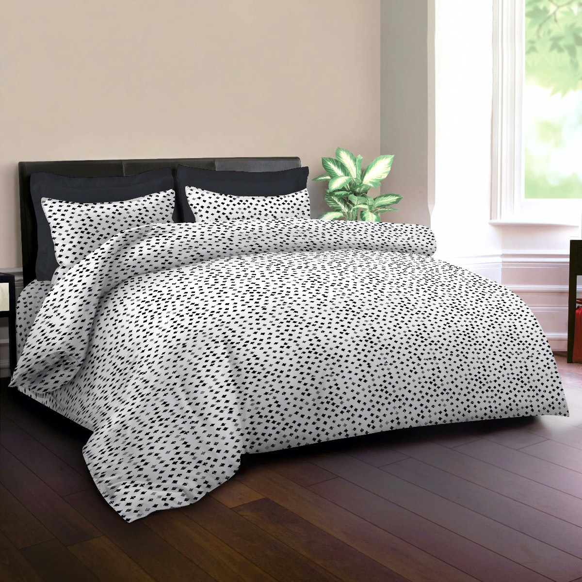 King Rabbit Set Sprei Sarung Bantal King Motif Autograph Sign - Hitam Uk 180x200x40 cm