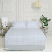 King Rabbit 7STAR Set Sprei Sarung Bantal King Motif Modo - Biru Uk 180x200x40cm